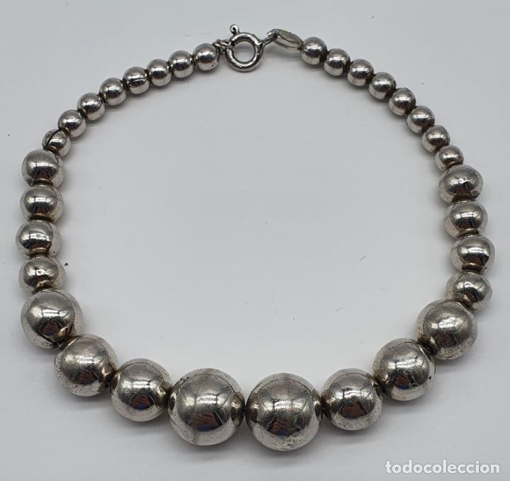 Joyeria: Pulsera antigua en perlas de plata de ley contrastada 925 . - Foto 3 - 219525247