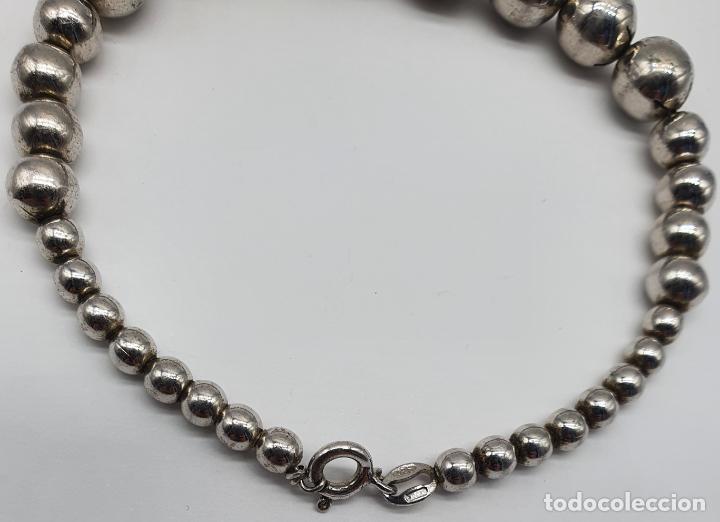 Joyeria: Pulsera antigua en perlas de plata de ley contrastada 925 . - Foto 5 - 219525247