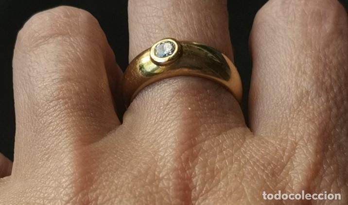 Joyeria: Antiguo Anillo Solitario sortija de Oro 18k y Diamante talla antigua 0,20 ct. peso total 8 gr - Foto 3 - 220600457