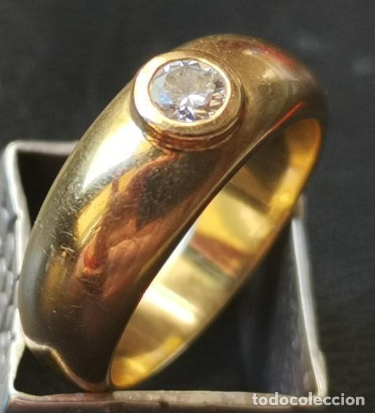 Joyeria: Antiguo Anillo Solitario sortija de Oro 18k y Diamante talla antigua 0,20 ct. peso total 8 gr - Foto 4 - 220600457