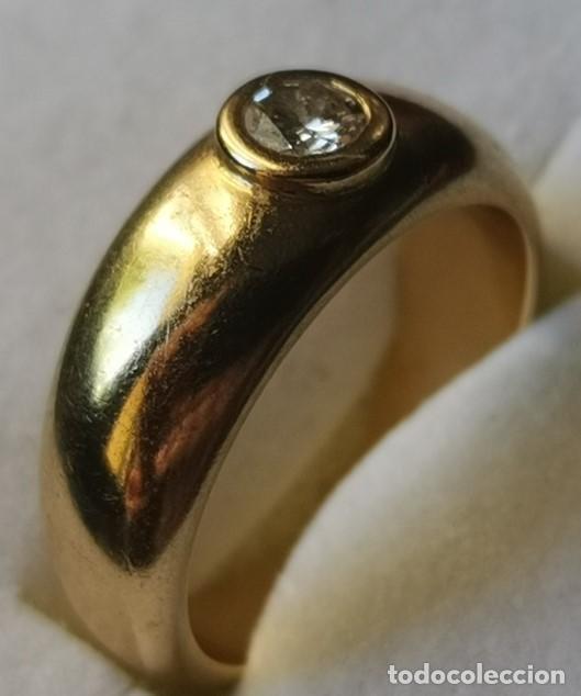Joyeria: Antiguo Anillo Solitario sortija de Oro 18k y Diamante talla antigua 0,20 ct. peso total 8 gr - Foto 12 - 220600457