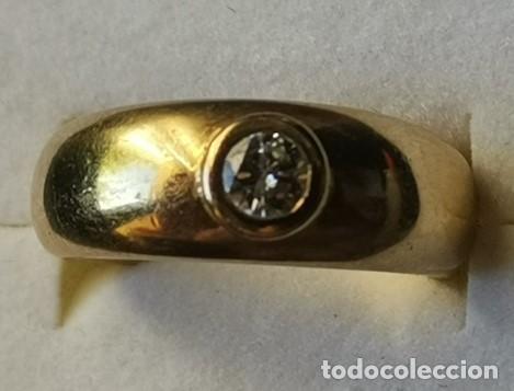 Joyeria: Antiguo Anillo Solitario sortija de Oro 18k y Diamante talla antigua 0,20 ct. peso total 8 gr - Foto 13 - 220600457