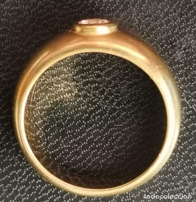 Joyeria: Antiguo Anillo Solitario sortija de Oro 18k y Diamante talla antigua 0,20 ct. peso total 8 gr - Foto 15 - 220600457