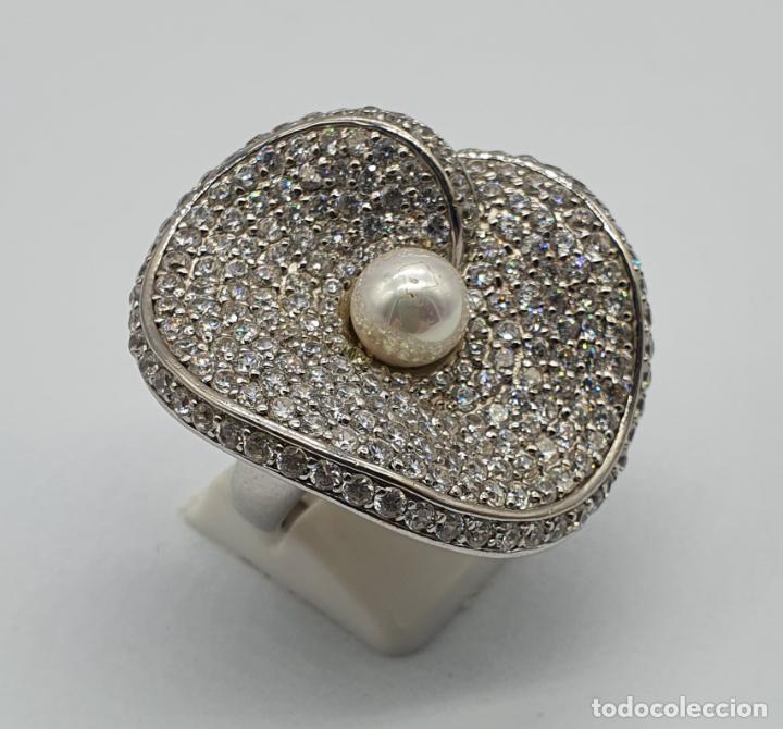 Joyeria: Majestuoso anillo de diseño en plata de ley maciza cuajado de circonitas talla brillante y perla . - Foto 4 - 220650381