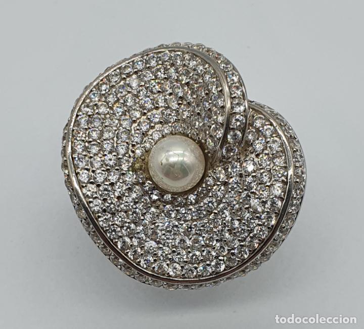 Joyeria: Majestuoso anillo de diseño en plata de ley maciza cuajado de circonitas talla brillante y perla . - Foto 6 - 220650381