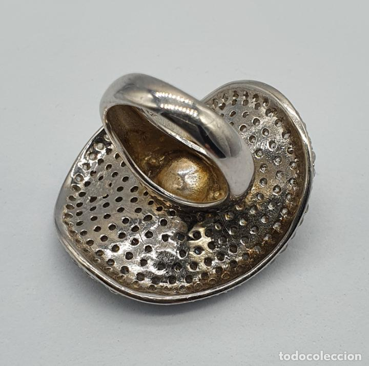 Joyeria: Majestuoso anillo de diseño en plata de ley maciza cuajado de circonitas talla brillante y perla . - Foto 7 - 220650381
