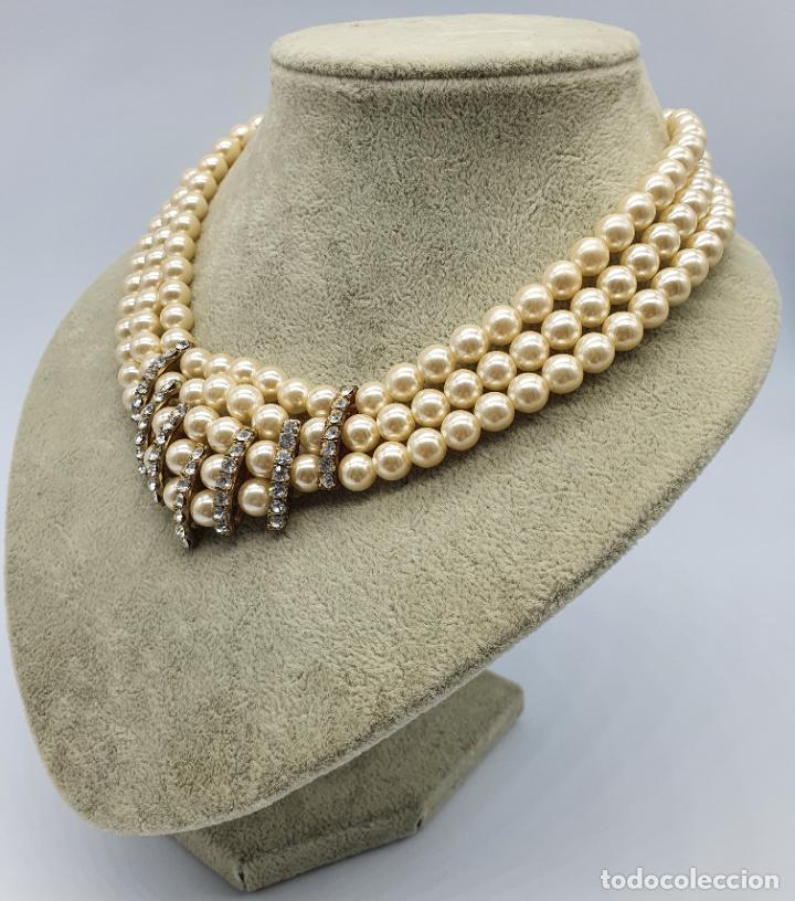 Joyeria: Bellísima gargantilla antigua de estilo rococó en perlas y circonitas con cierre de bronce . - Foto 2 - 220885798