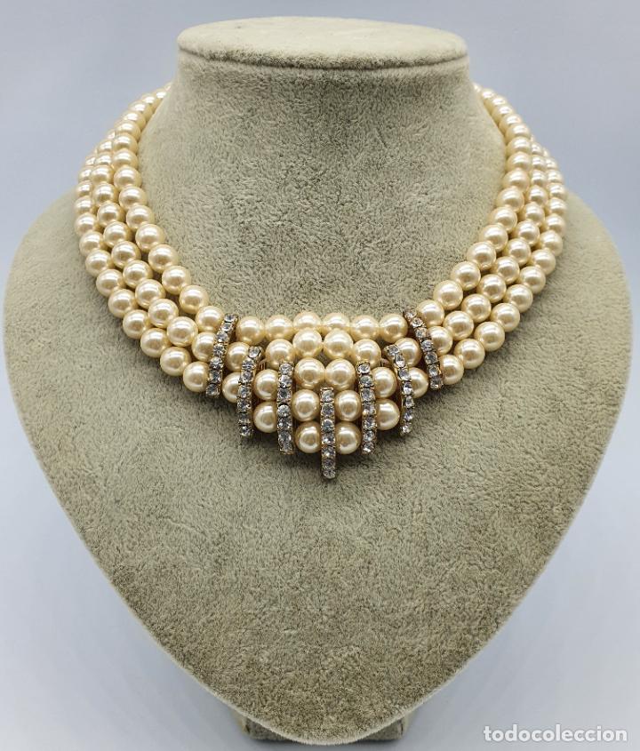 Joyeria: Bellísima gargantilla antigua de estilo rococó en perlas y circonitas con cierre de bronce . - Foto 3 - 220885798