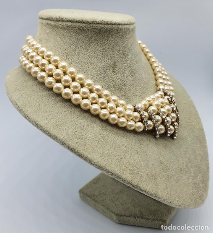 Joyeria: Bellísima gargantilla antigua de estilo rococó en perlas y circonitas con cierre de bronce . - Foto 4 - 220885798