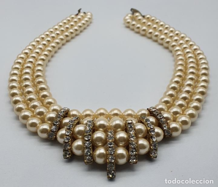 Joyeria: Bellísima gargantilla antigua de estilo rococó en perlas y circonitas con cierre de bronce . - Foto 5 - 220885798