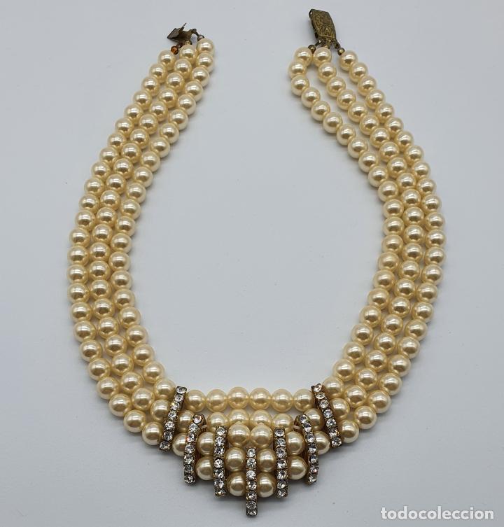 Joyeria: Bellísima gargantilla antigua de estilo rococó en perlas y circonitas con cierre de bronce . - Foto 6 - 220885798