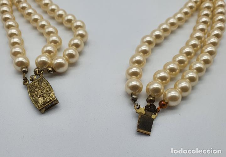 Joyeria: Bellísima gargantilla antigua de estilo rococó en perlas y circonitas con cierre de bronce . - Foto 7 - 220885798