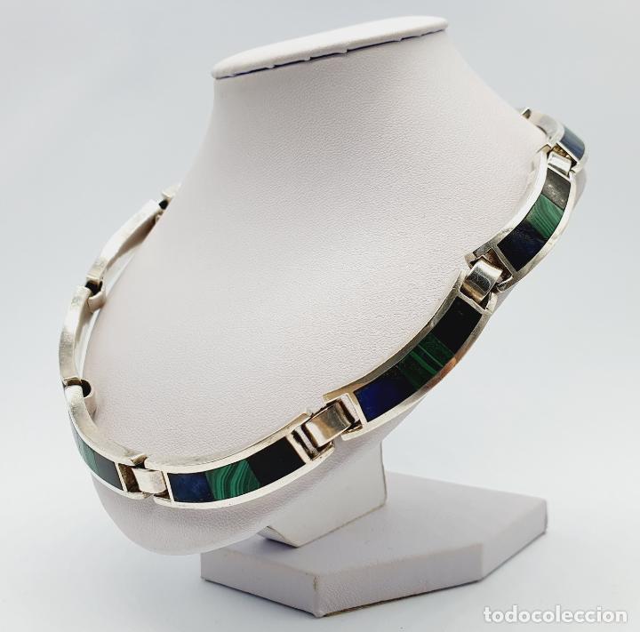 Joyeria: Magnífica gargantilla antigua en de plata de ley, aplicaciones de lapislázuli, malaquita y azabache - Foto 2 - 220887115