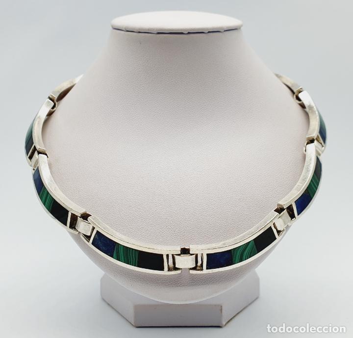 Joyeria: Magnífica gargantilla antigua en de plata de ley, aplicaciones de lapislázuli, malaquita y azabache - Foto 3 - 220887115