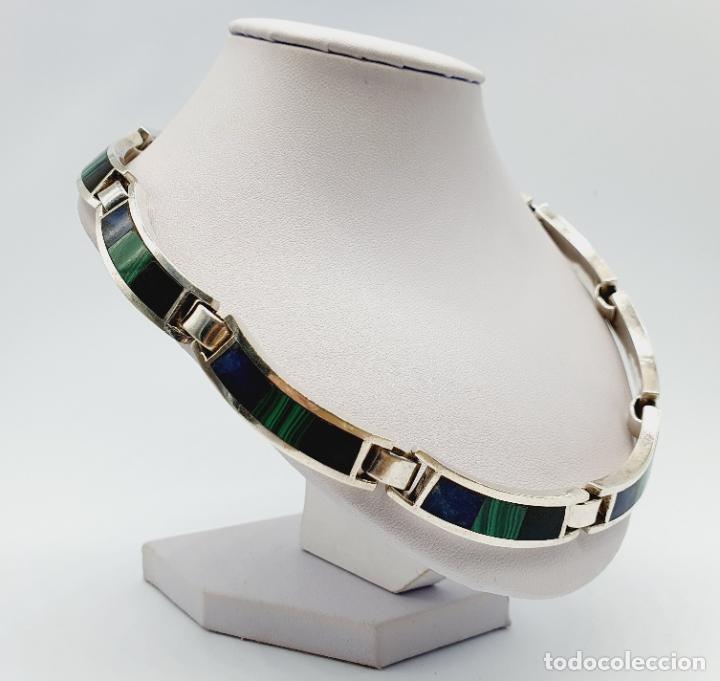 Joyeria: Magnífica gargantilla antigua en de plata de ley, aplicaciones de lapislázuli, malaquita y azabache - Foto 4 - 220887115