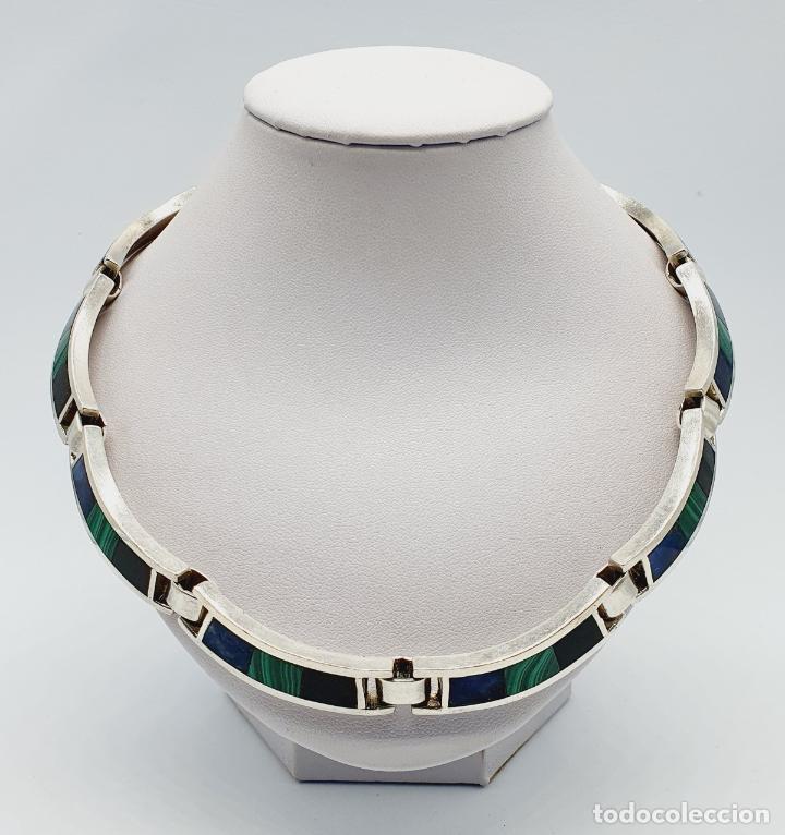 Joyeria: Magnífica gargantilla antigua en de plata de ley, aplicaciones de lapislázuli, malaquita y azabache - Foto 5 - 220887115