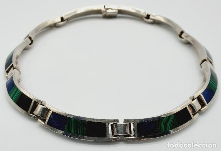 Joyeria: Magnífica gargantilla antigua en de plata de ley, aplicaciones de lapislázuli, malaquita y azabache - Foto 6 - 220887115