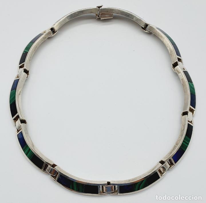 Joyeria: Magnífica gargantilla antigua en de plata de ley, aplicaciones de lapislázuli, malaquita y azabache - Foto 7 - 220887115