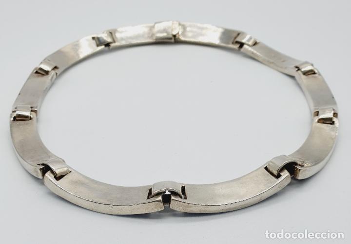 Joyeria: Magnífica gargantilla antigua en de plata de ley, aplicaciones de lapislázuli, malaquita y azabache - Foto 8 - 220887115