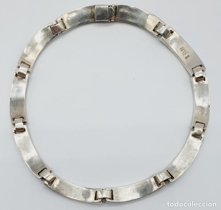 Joyeria: Magnífica gargantilla antigua en de plata de ley, aplicaciones de lapislázuli, malaquita y azabache - Foto 9 - 220887115