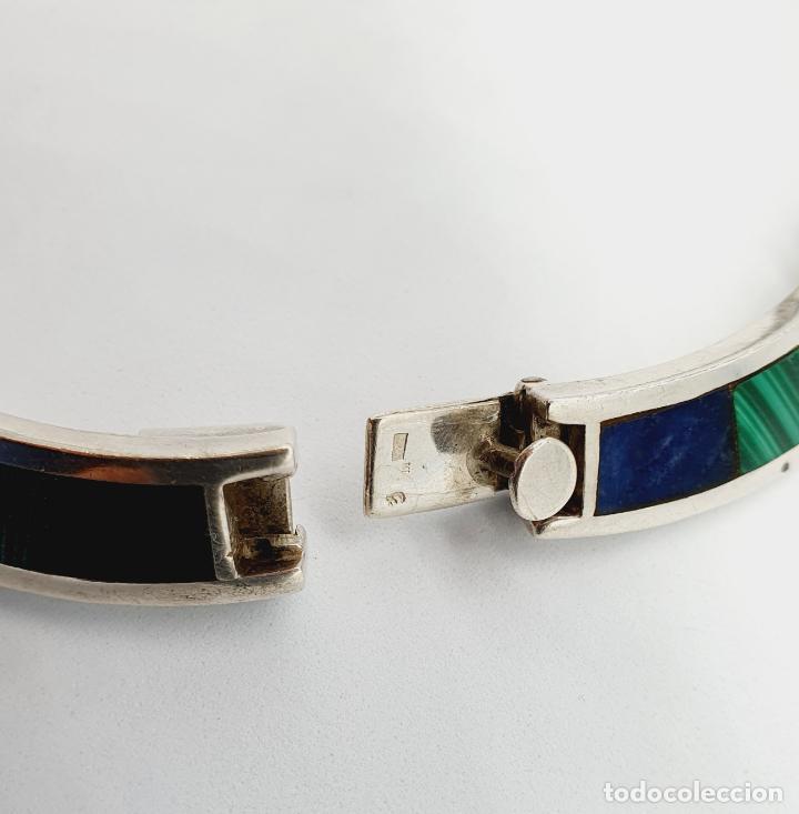 Joyeria: Magnífica gargantilla antigua en de plata de ley, aplicaciones de lapislázuli, malaquita y azabache - Foto 10 - 220887115