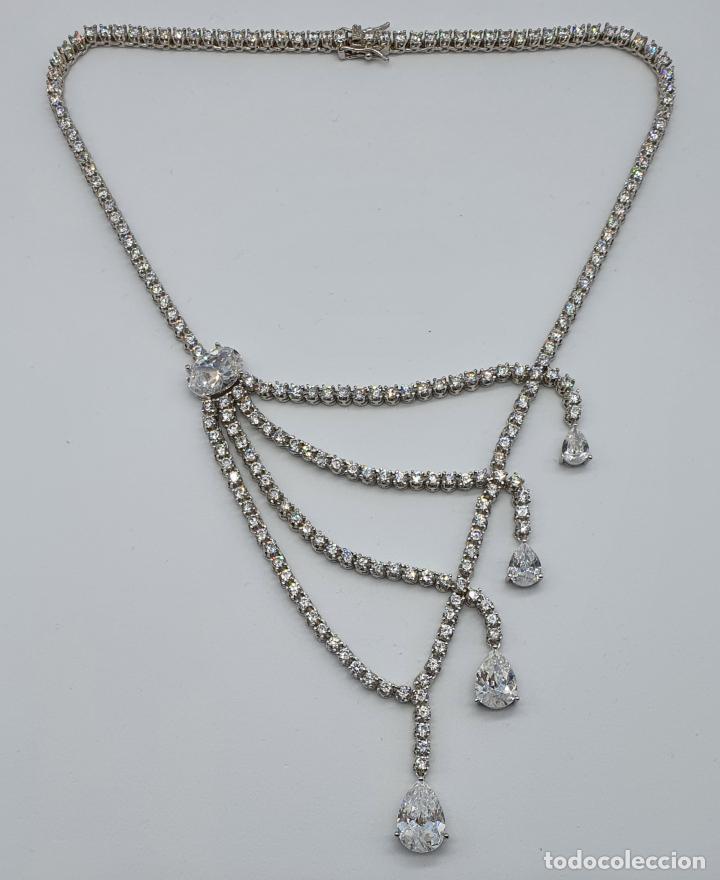 Joyeria: Majestuosa gargantilla de lujo en plata de ley, baño de oro blanco de 18k y circonitas engarzadas . - Foto 5 - 220887317