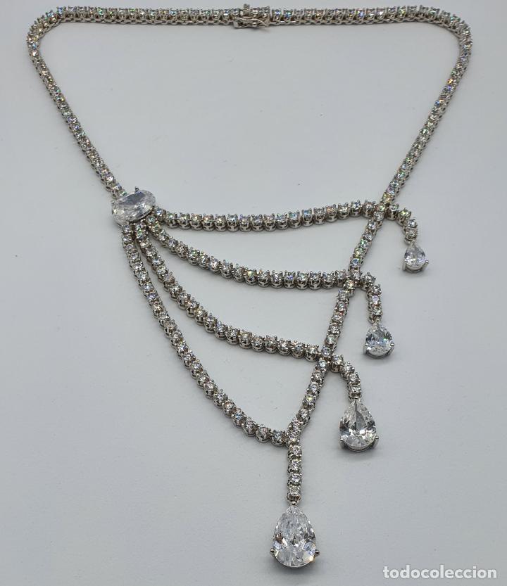 Joyeria: Majestuosa gargantilla de lujo en plata de ley, baño de oro blanco de 18k y circonitas engarzadas . - Foto 6 - 220887317