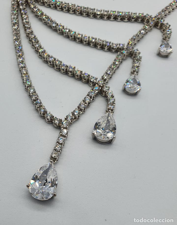 Joyeria: Majestuosa gargantilla de lujo en plata de ley, baño de oro blanco de 18k y circonitas engarzadas . - Foto 7 - 220887317