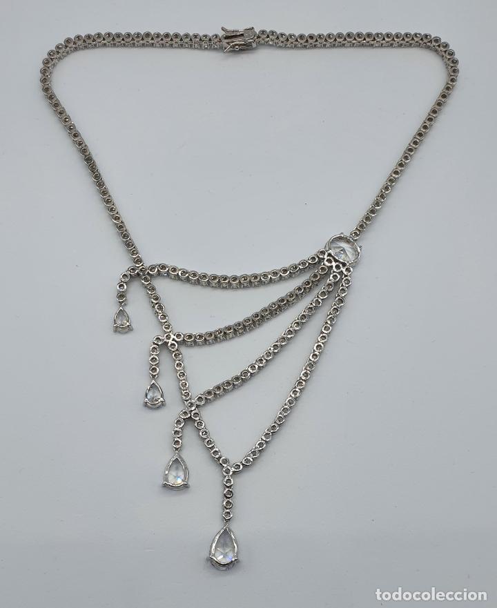Joyeria: Majestuosa gargantilla de lujo en plata de ley, baño de oro blanco de 18k y circonitas engarzadas . - Foto 11 - 220887317