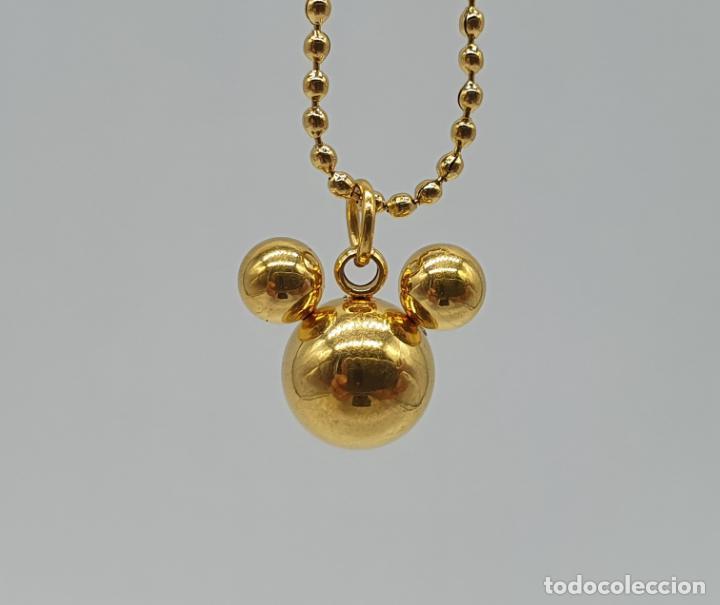 Joyeria: Original gargantilla de ratón Mickey mouse en acero inoxidable pulido y chapado en oro de 18k . - Foto 5 - 220890901