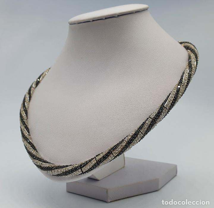Joyeria: Exuberante gargantilla de lujo en plata de ley cuajada de circonitas y espinelas negras engarzadas . - Foto 2 - 221294210