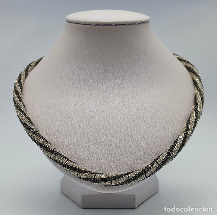 Joyeria: Exuberante gargantilla de lujo en plata de ley cuajada de circonitas y espinelas negras engarzadas . - Foto 3 - 221294210
