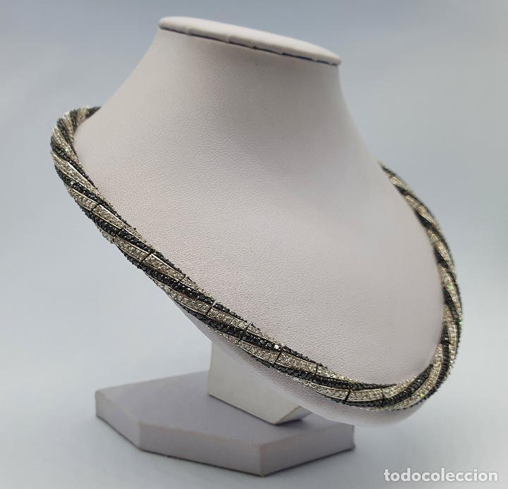 Joyeria: Exuberante gargantilla de lujo en plata de ley cuajada de circonitas y espinelas negras engarzadas . - Foto 4 - 221294210