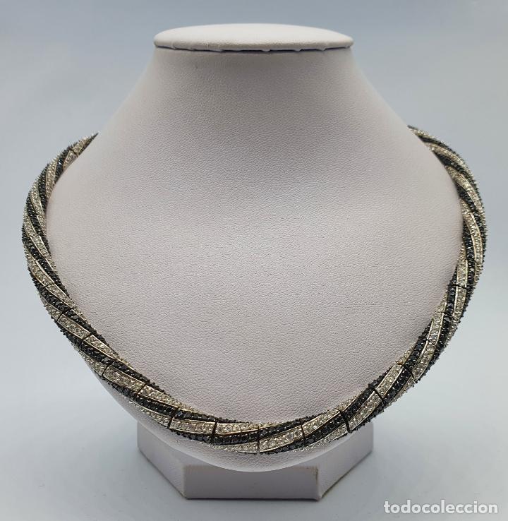 Joyeria: Exuberante gargantilla de lujo en plata de ley cuajada de circonitas y espinelas negras engarzadas . - Foto 5 - 221294210