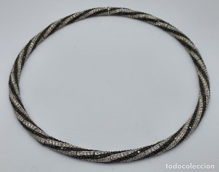 Joyeria: Exuberante gargantilla de lujo en plata de ley cuajada de circonitas y espinelas negras engarzadas . - Foto 6 - 221294210