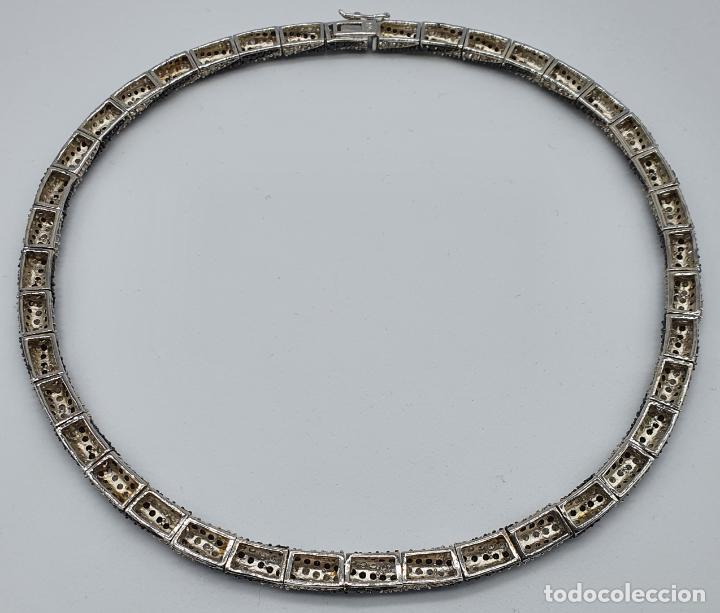 Joyeria: Exuberante gargantilla de lujo en plata de ley cuajada de circonitas y espinelas negras engarzadas . - Foto 7 - 221294210