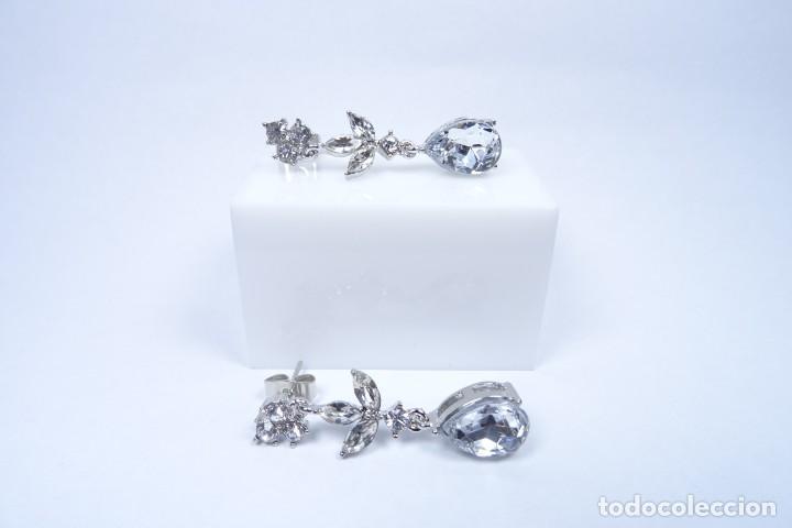 Joyeria: Pendientes largos en plata 925 y pedrería blanca natural - Foto 3 - 221435552