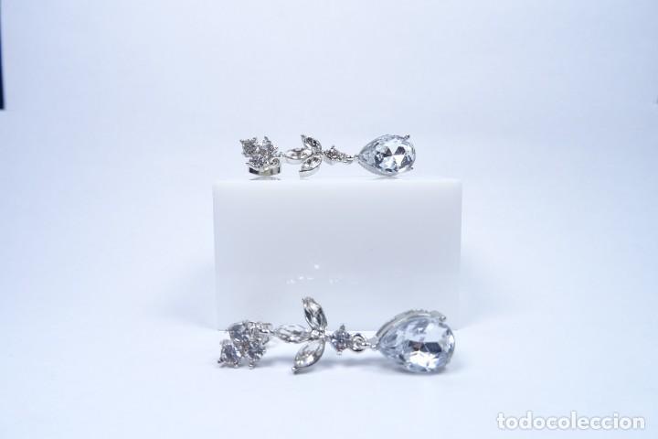 Joyeria: Pendientes largos en plata 925 y pedrería blanca natural - Foto 4 - 221435552