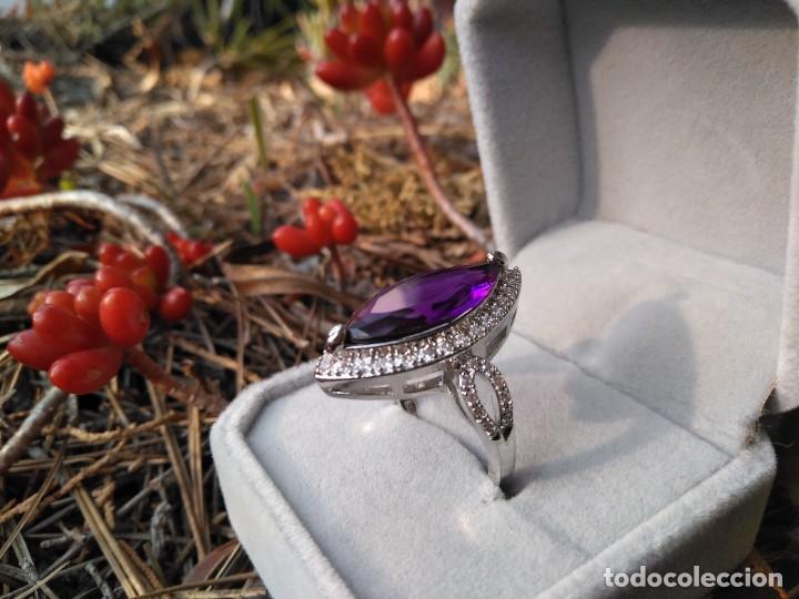 Joyeria: Anillo de plata con amatista y piedras semipreciosas - Foto 3 - 221514948
