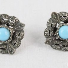 Joyeria: PENDIENTES. PLATA, ORO 18KT Y TURQUESAS. CA 1880 - EARRINGS, SILVER, 18KT GOLD AND TURQUOISES. Lote 221569243
