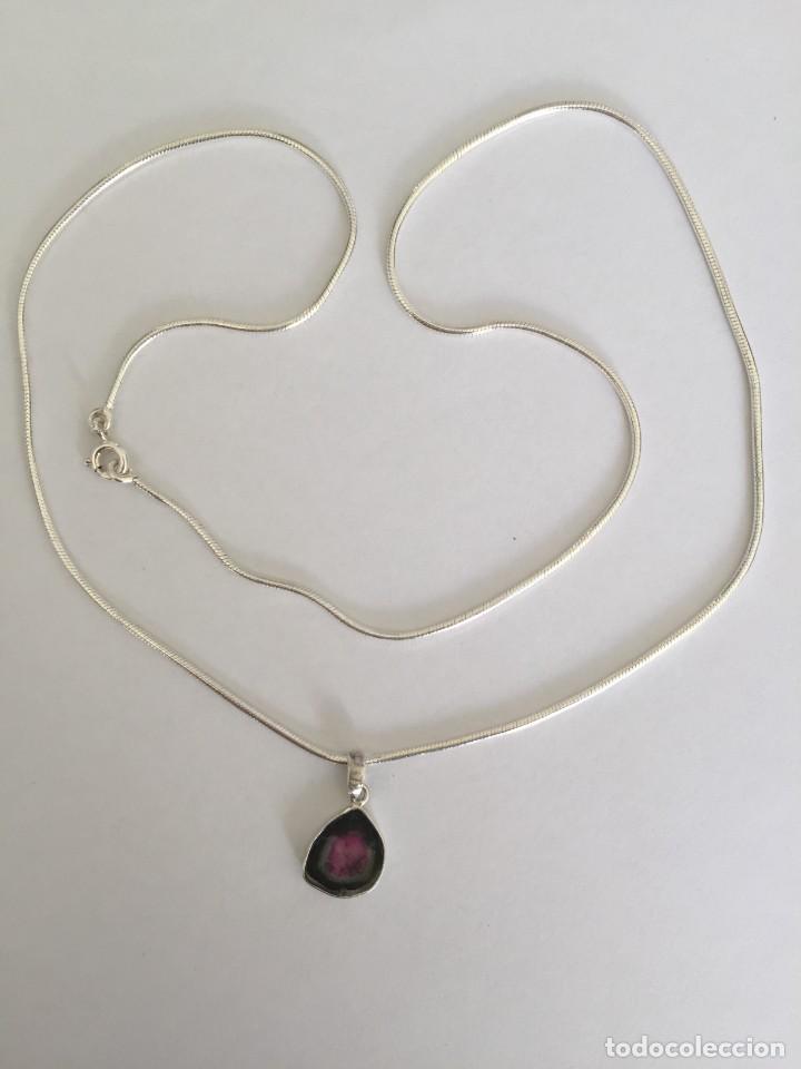 Joyeria: Collar de plata de ley 925 con Precioso colgante de turmalina watermelon. - Foto 2 - 222106558