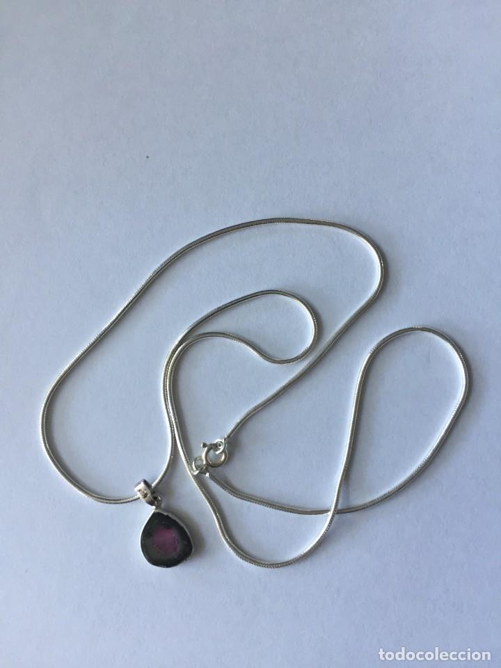 Joyeria: Collar de plata de ley 925 con Precioso colgante de turmalina watermelon. - Foto 3 - 222106558