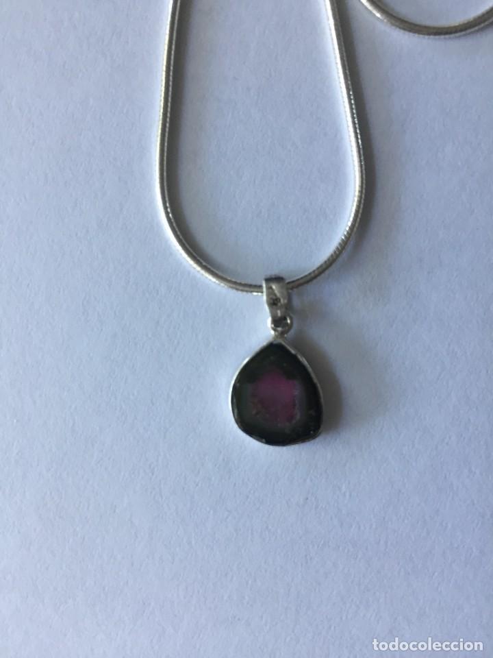 Joyeria: Collar de plata de ley 925 con Precioso colgante de turmalina watermelon. - Foto 4 - 222106558