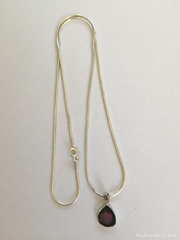 Joyeria: Collar de plata de ley 925 con Precioso colgante de turmalina watermelon. - Foto 6 - 222106558