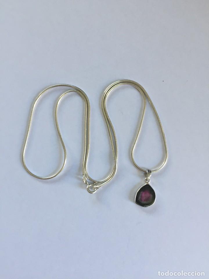Joyeria: Collar de plata de ley 925 con Precioso colgante de turmalina watermelon. - Foto 7 - 222106558