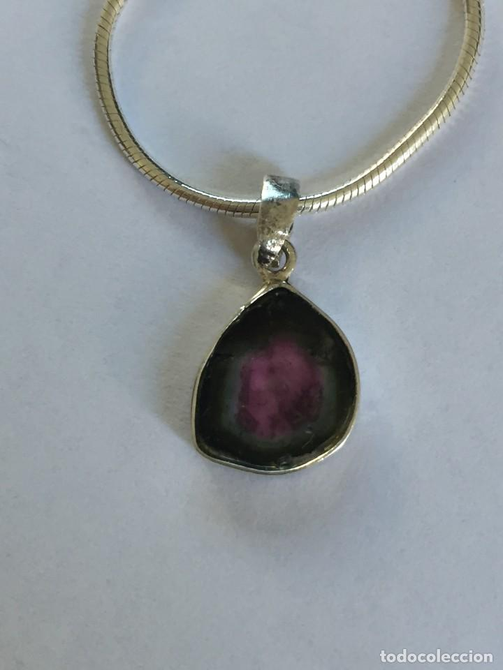 Joyeria: Collar de plata de ley 925 con Precioso colgante de turmalina watermelon. - Foto 8 - 222106558