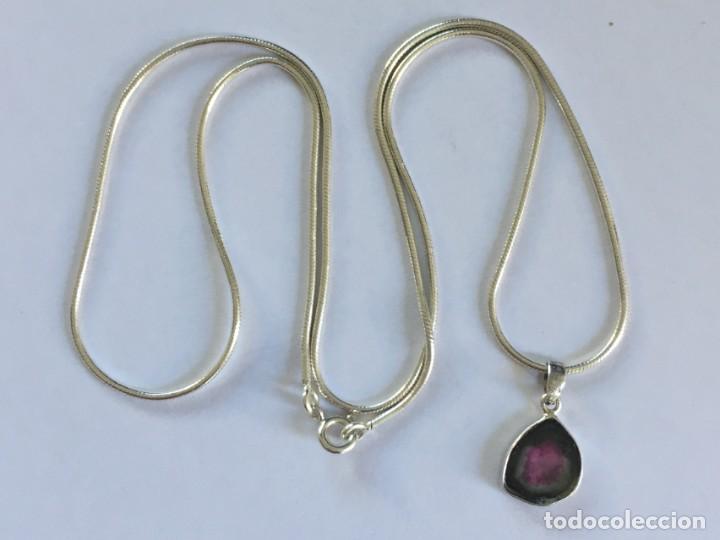 Joyeria: Collar de plata de ley 925 con Precioso colgante de turmalina watermelon. - Foto 11 - 222106558