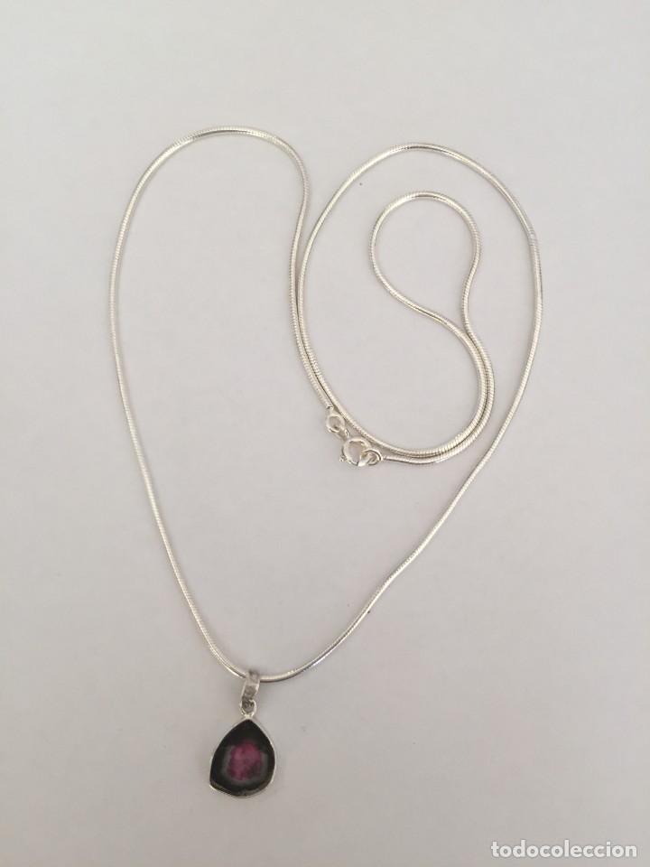Joyeria: Collar de plata de ley 925 con Precioso colgante de turmalina watermelon. - Foto 13 - 222106558