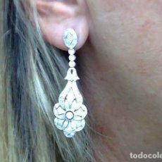 Jewelry: PENDIENTES LARGOS ORO 18 KTS Y DIAMANTES. Lote 222418112