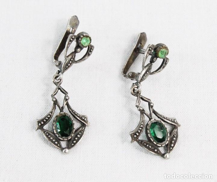 Joyeria: Pendientes en plata años 1920 31x13mm - Spanish silver earrings - Foto 2 - 222454530